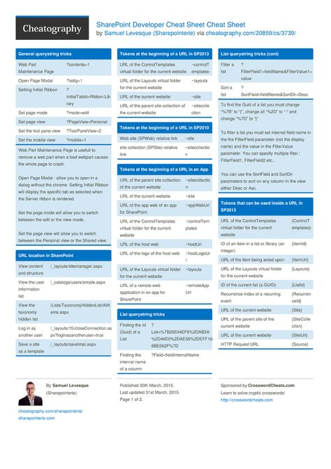 SharePoint Developer Cheat Sheet by Sharepointerie http://www.cheatography.com/sharepointerie/cheat-sheets/sharepoint-developer-cheat-sheet/ #cheatsheet #url #developer #sharepoint