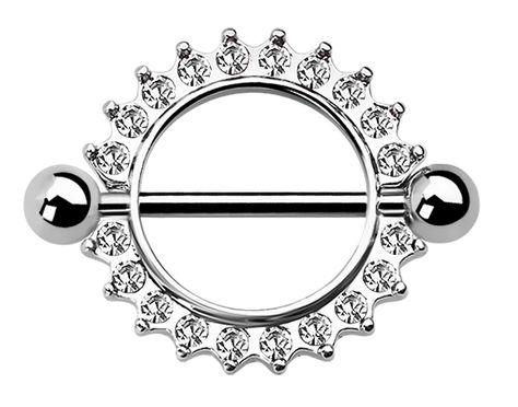 Bild von Brustpiercing Schmuck Schild Steinkranz 14 mm und Stab in 1,6 mm #brustpiercing #piercing #brustwarze