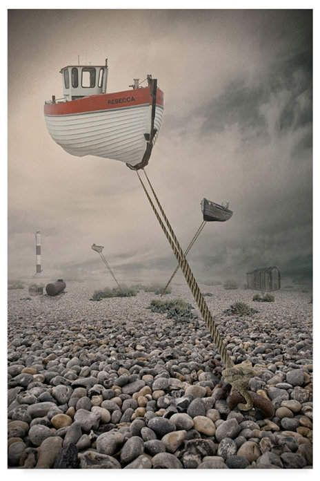 Trademark Global Baden Bowen Low Tide Boat Canvas Art - 37  x 49