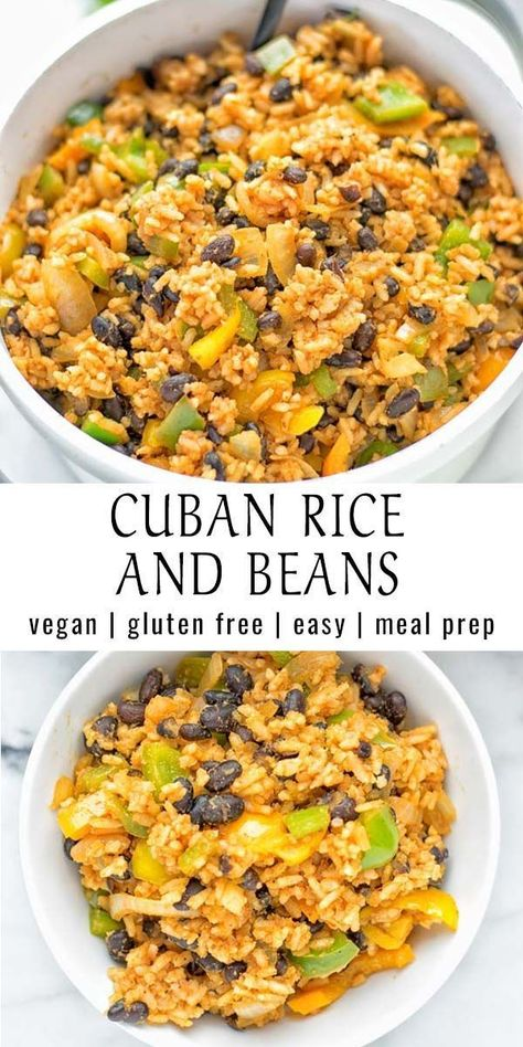 Make this simple and quick Cuban Rice and Beans today. Full of delicious spices, done in one pot, and always exciting to customize to your taste. A natural vegan and gluten free lunch or dinner. Perfect as a work or school lunch meal prep. #vegan #glutenfree #contentednesscooking #plantbased #dairyfree #vegetarian #mealprep #lunch #dinner #budget #beans #easyfood #cuba #worklunch