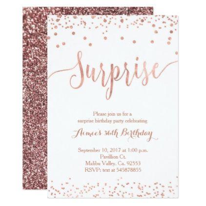Rose Gold Surprise Birthday Invitation Zazzle Com Surprise