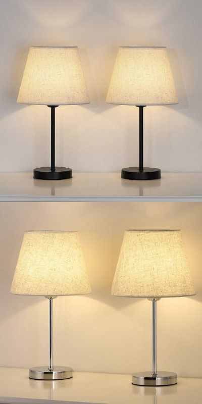 Small Table Lamp Set Of 2 Bedside Desk Lamps Pair Nightstand Lamps 2 Pack Silver Metal Lamp With Linen Shade For Bedrooms D In 2020 Table Lamp Sets Lamp Table Lamp