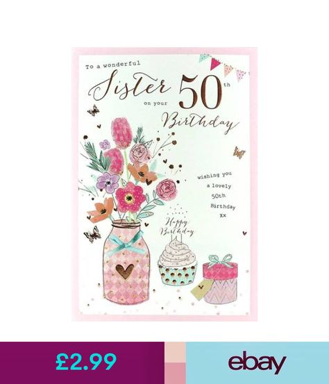 Icg Sister 50th Birthday Card Pink Flowers Cake Bronze