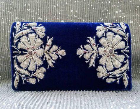Blue velvet embroidered evening bag, Zardozi purse, Zardozi