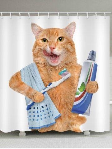 Tooth Brushing Cat Print Waterproof Shower Curtain Bathroom Shower Curtains Cute Shower Curtains
