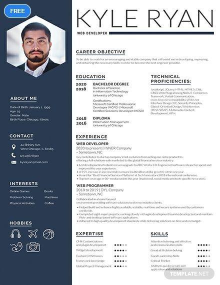 Web Developer Resume Free Web Developer Resume Web Developer Resume In 2020 Web Developer Resume Creative Resume Template Free Resume Template Word