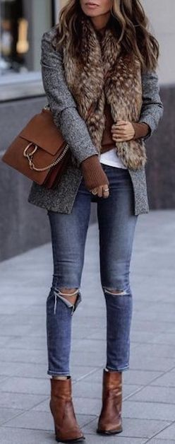 Winter Street Style, Winter Fashion, Winter Style, Fur Collar Jacket, Fur Collar Blazer, Brown Leather Ankle Booties, Brown Chloe Bag, Winter Layers, Blogger Fashion, Blogger Style, Blogger Street Style, Cute Casual Outfit for Moms, Cute Daytime Outfit for Moms