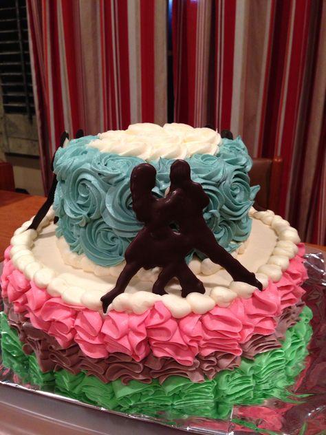 Salsa dancing cake- ruffles; chocolate decor; buttercream