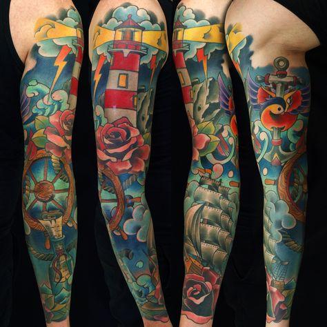 Sleeve tattoo by Fishero - Freihand tattoo