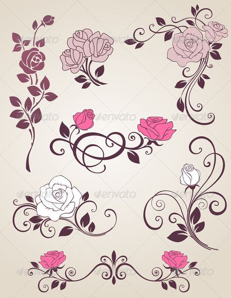 Decorative Roses  #GraphicRiver         Decorative vector elements with roses for design. Zip file contains fully editable EPS10 vector file, high resolution RGB Jpeg image and transparent PNG file.     Created: 30October12 GraphicsFilesIncluded: TransparentPNG #JPGImage #VectorEPS Layered: No MinimumAdobeCSVersion: CS Tags: bloom #blossom #decorative #design #floral #flower #leaf #nature #old #ornament #pink #plant #retro #rose #swirl #vector #vintage