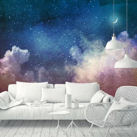 "Ebern Designs Ensley Removable Watercolor Universe Filled Stars Moon 9.17' L x 175"" W Wall Mural | Wayfair"