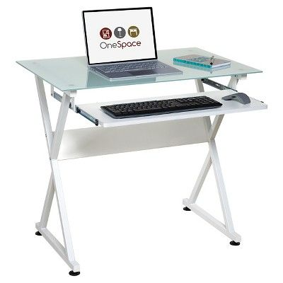 Onespace 50 Jn1201 Ultramodern Glass Computer Desk With Pull Out Keyboard Tray White Glass Computer Desks Glass Desk Office Computer Desk
