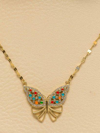 كوليه ذهب عيار 18 فراشه بخصم 10 على المصنعيه Necklace Jewelry Fashion