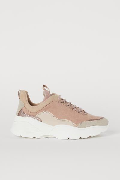 Sneakers Powder Pink Beige Ladies H M Us Pink Sneakers Fashion Shoes Sneakers Sneakers