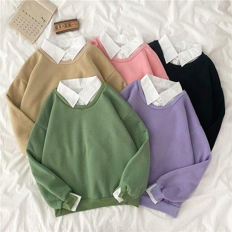 12.33US $ 28% OFF|autumn winter Fake two piece oversized women sweatshirt Korean style fleece hoodie Casual Pullovers harajuku solid streetwear|Hoodies & Sweatshirts|   - AliExpress