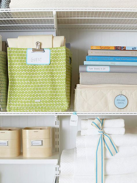 Keep linens organized based on where you plan to use them! Find more how-tos here: http://www.bhg.com/decorating/closets/linen-closet/?socsrc=bhgpin021415labelwithlinens&page=3