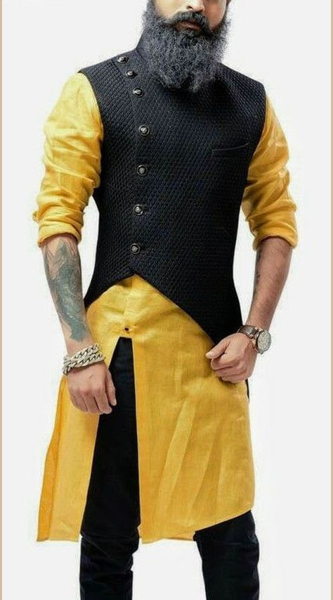 Yellow and Black Asymmetrical Style Kurta with Jacket is part of Indian men fashion - Original Product Yellow and Black Asymmetrical Jacket with Kurta is Asymmetrical Style Churidar Kurta with Jacket with Plain