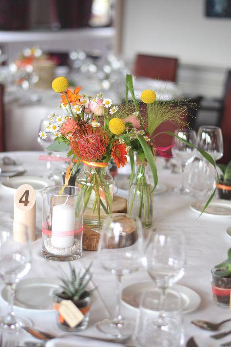Centre de table mariage coloré-Numéros de table Molkky-wedding vintage-Détours Nature