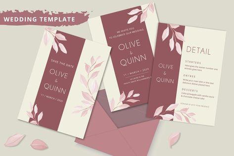 Elegant Minimalist Floral Wedding Invitation Design PSD