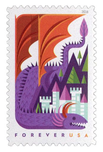 5308 – 2018 First-Class Forever Stamp - Dragons: Purple