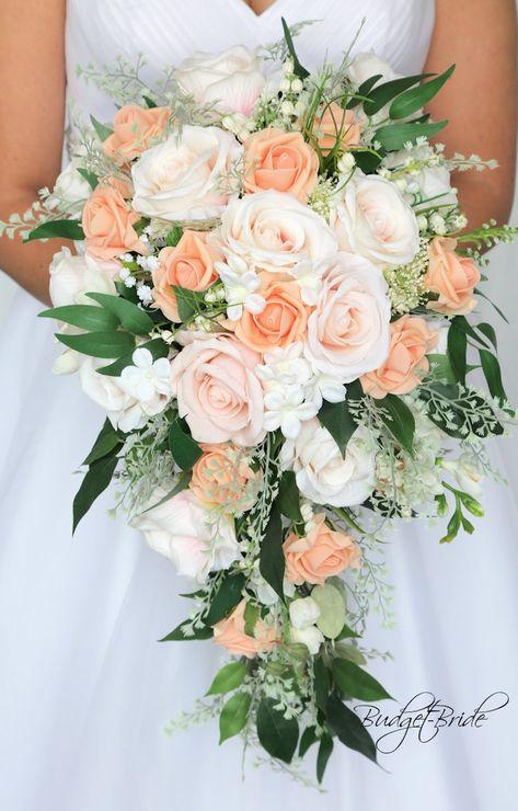 Cascading Wedding Bouquets, Cascade Bouquet, Wedding Flower Arrangements, Bride Bouquets, Bridal Flowers, Flower Bouquet Wedding, Floral Wedding, Coral Wedding Flowers, Vintage Wedding Bouquets