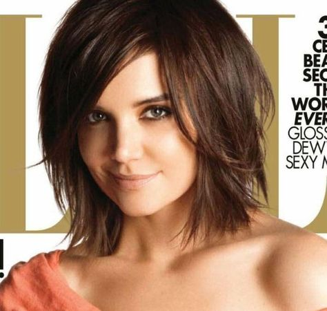 shoulder length bob with layers.
