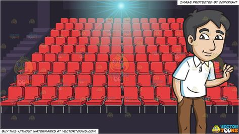 Clipart Cartoon A Shy Looking Man And Movie Theater Seats Background Vendor Vectortoon Type Clipart Pr Movie Theatre Seats Movie Theater Theater Seating
