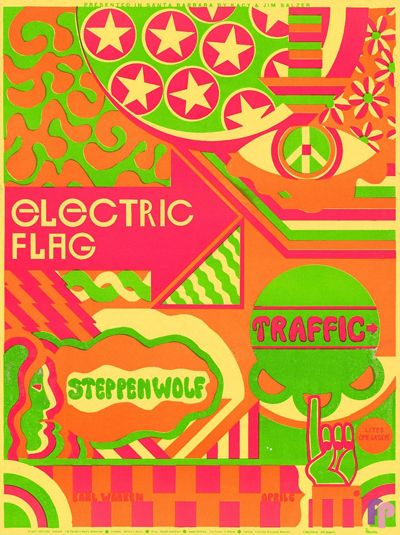 psychedelic-sixties: Traffic/Electric Flag/Steppenwolf, April 1968 - Earl Warren Showgrounds, Santa Barbara Art by Frank Bettencourt.