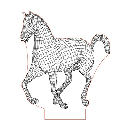 Running Horse 3d Illusion Lamp Plan Vector File For Laser And Cnc 3bee Studio 3d Illusion Lamp 3d Illusions Illusions