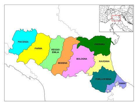 Emilia Romagna Provinces Italien