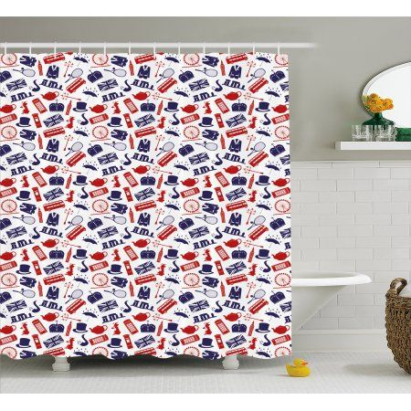 London Shower Curtain United Kingdom Country Themed Symbols