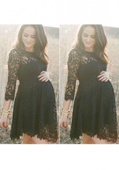 Black 3/4 Sleeve Maternity Midi Dress - PinkBlush