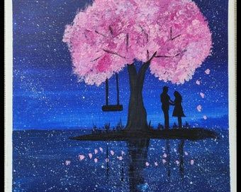 Romantic Couple Under A Cherry Blossom Tree Acrylic Painting On 100 Cotton Stretched Canvas Painting Tree Painting Cherry Blossom Tree