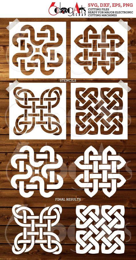 4 Celtic Tile Digital Stencil Template Designs SVG DXF cut files diy Mylar Film Cutting Silhouette Cricut Cookie Stencils Download JB-992