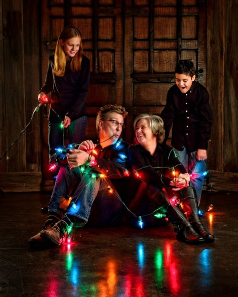 Christmas lights tangled up mischievous colorful card idea Family Portraits » Family Photography in Midlothian   Dallas-Fort Worth Wedding Photographer