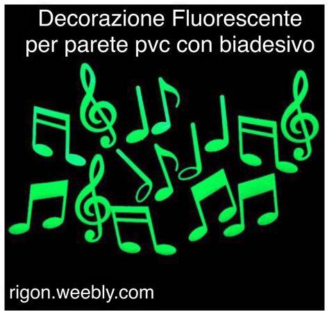 DECORAZIONE PER PARETI NOTE MUSICALI FLUORESCENTE 3€