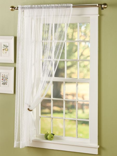 Bring A Touch Of Soft Lace To Your Window With This Beautiful Dotted Lace Sheer Panel In 2020 Sheer Curtain Panels Curtains Panel Curtains