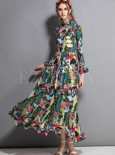 Vintage Standing Collar Print Big Hem Maxi Dress   Ezpopsy.com
