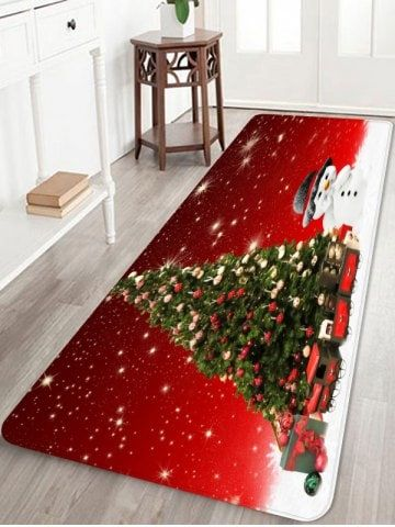 Christmas Runner Rugs.Christmas Tree Snowman Pattern Water Absorption Area Rug