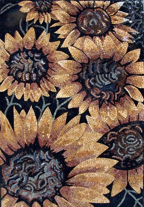 Gorgeous Sunflowers portrayed in a mosaic marble fully hand made from all natural stones and hand-cut tiles.