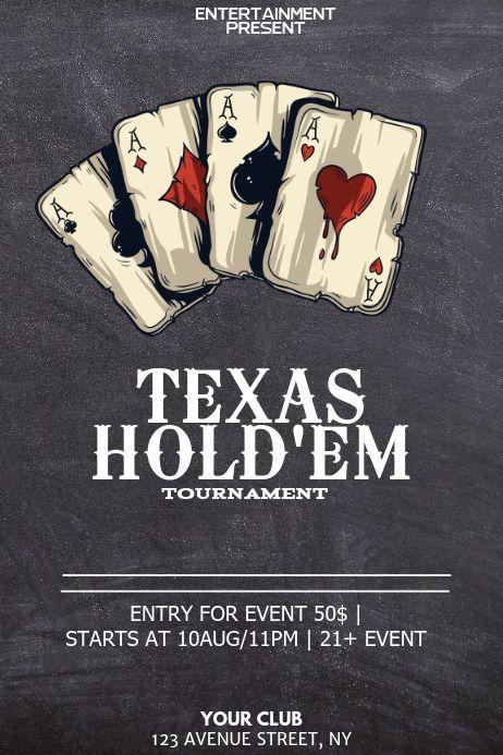 Texas Holdem Poker Night Flyer Template Gaming Posters Poster Template Templates