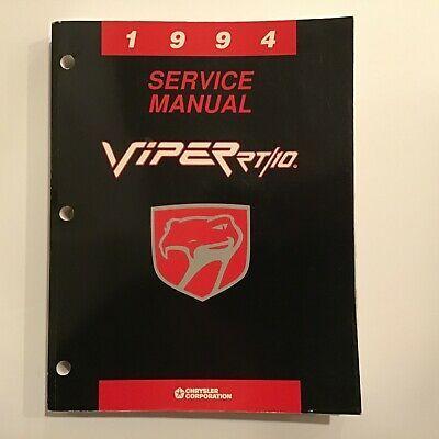 Chrysler 1994 Original Dealer Service Shop Repair Manual Viper Rt 10 In 2020 Repair Manuals Manual Repair