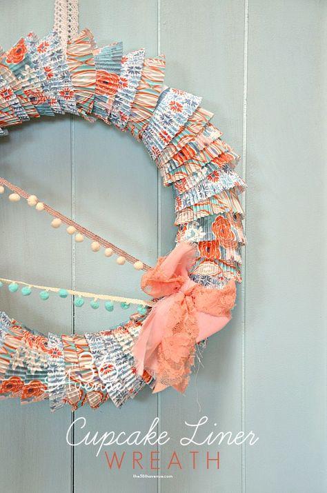 How to make a wreath using cupcake liners. Easy tutorial @The 36th Avenue .com #wreath #diy