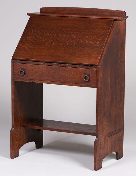 Lifetime Furniture Co One Drawer Drop Front Desk C1910 Arts And Crafts Furniture Furniture Historical Design