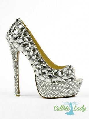 CallMeLady style  fashion  custom-made  silver  crystal  rhinestones peep  toe  party  shoes   high  heels for  women 357902ab3eed