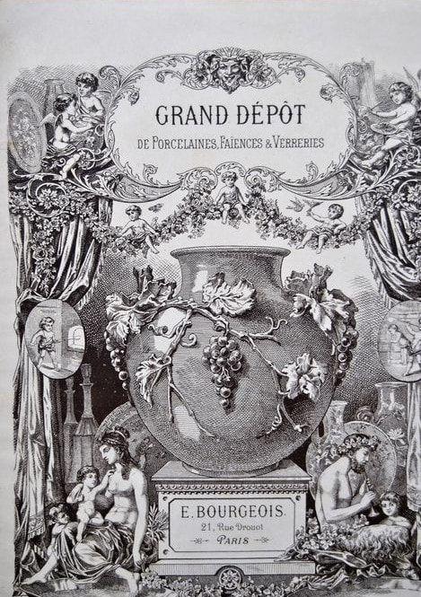 E Bourgeois Grand Depot Mid 1800s Terre De Fer Antique Dinner