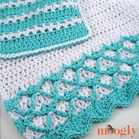 Mermaid Towel Washcloth Set Free Crochet Patterns Crochet