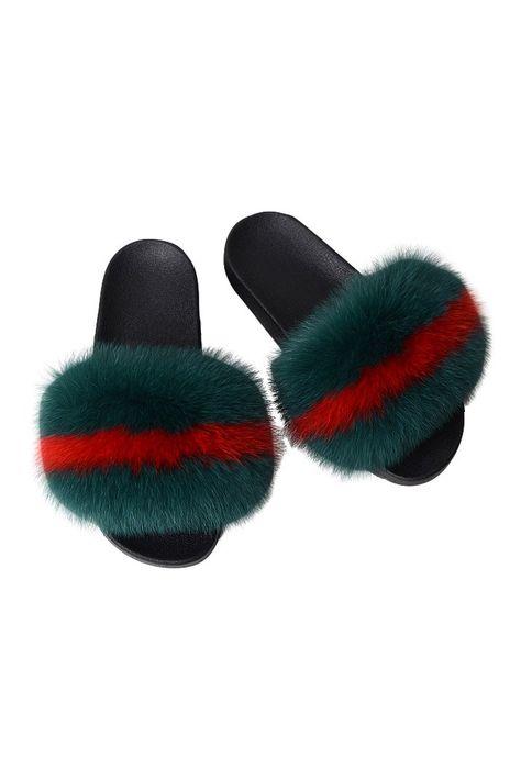 Fox Fur Slides-Army Green/Red | Fur