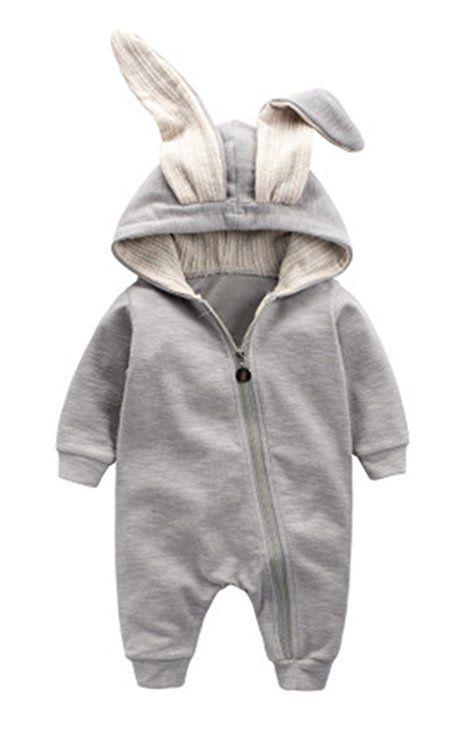 Winter Warm Baby Boys Girls Rabbit 3D Ear Zipper Hooded Romper Jumpsuit Outfits
