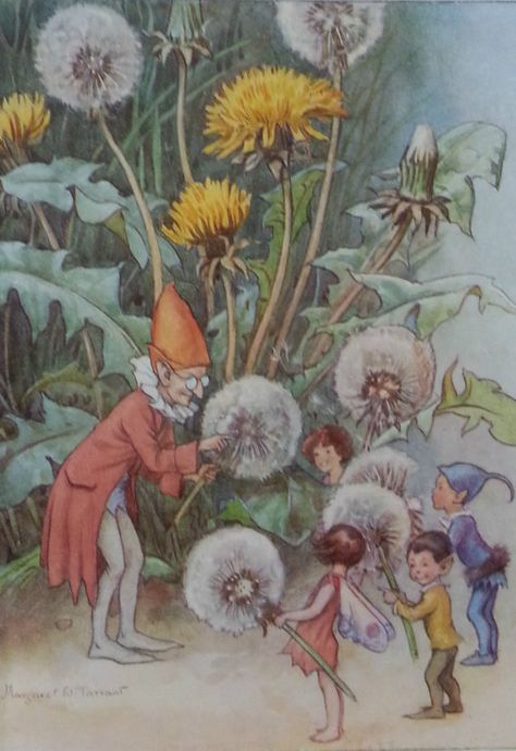 RARE - Margaret Tarrant Flower Fairies Vintage Fairy Print Dandelions Fairies Mounted 1936 Childs Nursery Ready to Frame